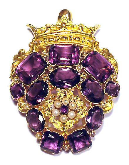 ULTIMATE Georgian 115 Ct. TW Siberian Amethyst/18k Pendant, c.1825!