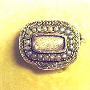 SALE BEST Serpent 15k/Pearl Mourning Brooch in Antique Fitted Box, c.1810!