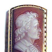 SALE SUPERB 14k/Hardstone Cameo Slide of Byron, c.1820!
