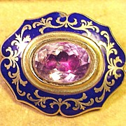 SALE BIG & BEAUTIFUL 15k/Enamel/Foil-Backed Amethyst Brooch, 16.4 Grams, c.1845!