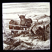 SALE Signed Minton Tile ~ Wm Wise Farm ~ Cows 1879