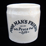 SALE QUACK Medicine ~ Poor Man's Friend Pot ~ 1880