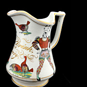 SALE DRINK BE MERRY Puzzle Jug HARLEQUIN CLOWN Pitcher Elsmore & Forster Staffordshire