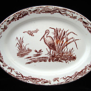 SALE AESTHETIC Brown Transferware Miniature Platter ~ Great Heron 1879