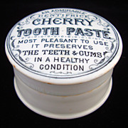 SALE Victorian Transfer Printed Cherry Tooth Paste Pot 1880