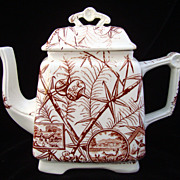 SALE Large Brown Transferware DEER Tea Pot ~ Warwick 1880
