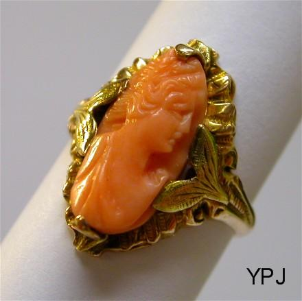 10K Pink and Green Gold Antique Coral Cameo Ring of Demeter
