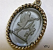 Aphrodite and Eros - Winged Cherub - Reverse Intaglio Pendant Necklace