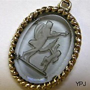 SALE Aphrodite and Eros - Winged Cherub - Reverse Intaglio Pendant Necklace