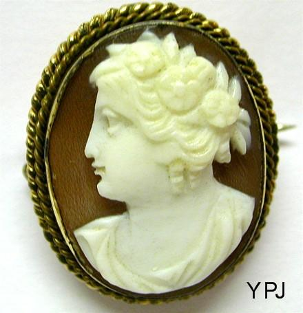 Antique Victorian Shell Flora Cameo Brooch Pin With C Clasp