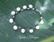 White Freshwater Pearls ~ Leather ~ Sterling Silver ~ Bracelet