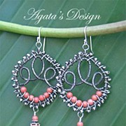 Angel Skin Coral Sterling Silver Coiled Earrings