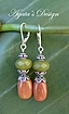 Green Jade  Rusty Orange Aventurine Sterling Silver Earrings