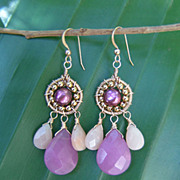 Fuchsia Quartz Pink Aventurine Freshwater Pearls 22 K Gold Filled Earrings