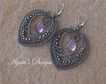 Amethyst ~ Sterling Silver ~ Coiled Earrings