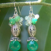 Chalcedony ~ Chrysoprase ~ Quartz ~ Moonstone ~ Sterling Silver ~ Earrings