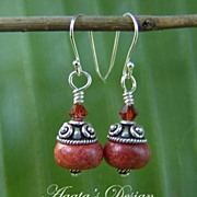 Red Coral Swarovski Crystals Sterling Silver Earrings