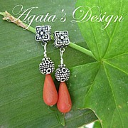 Natural Coral ~ Sterling Silver ~ Earrings
