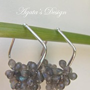 Labradorite Briolette Sterling Silver Hoop Earrings