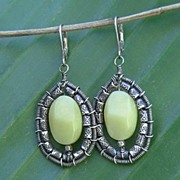 Olive Serpentine Sterling Silver Earrings