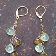 Citrine Prehnite Gold Filled Earrings