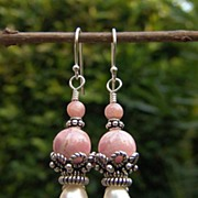 Rhodocrosite  Freshwater Pearls Sterling Silver Earrings