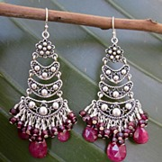 Ruby ~ Garnet~ Sterling Silver Chandelier Earrings