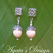 Rhodochrosite Sterling Silver Earrings