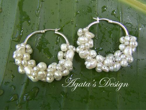 White Freshwater Pearls Sterling Silver Hoop Earrings