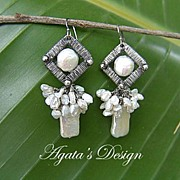 White Freshwater Pearls ~ Sterling Silver Coiled Earrings