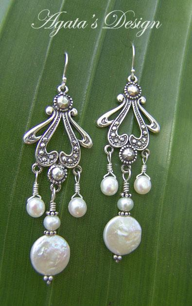 White Freshwater Pearls Sterling Silver Earrings