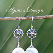 White Coin Freshwater Pearls Sterling Silver Earrings