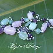 Amethyst Pink Quartz Green Aventurine Jade Aquamarine Sterling Silver Necklace