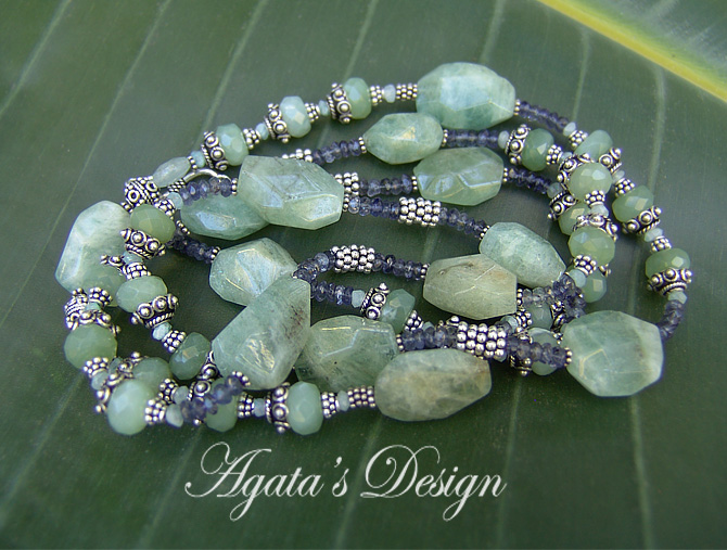 Aquamarine ~ New Jade ~ Iolite ~ Sterling Silver ~ Necklace