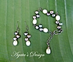 White ~ Peacock ~ Freshwater Pearls ~ Sterling Silver ~ Bracelet and Earrings Set