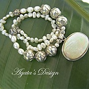 Freshwater Pearls ~ Mother of Pearl Pendant ~ Sterling Silver ~ Necklace