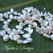 White Blister Shell Pearls Sterling Silver Necklace