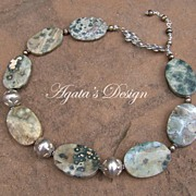 Ocean Jasper Freshwater Pearls Sterling Silver Necklace
