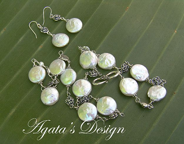 White Coin Freshwater Pearls ~ Sterling Silver ~ Earrings  & Necklace