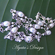White Freshwater Pearls Sterling Silver Necklace