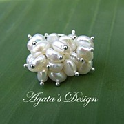 White Freshwater Pearls Sterling Silver Ring