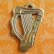 Vintage Engraved Irish Harp 9k Gold Charm ~ Ireland