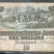 1864 $ 10 Confederate States of America Type 68 $ 10 Note