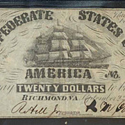 1861 Confederate 20 Dollar Note T18