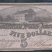 1862 5 Dollar Confederate Note T53