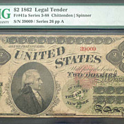 1862 2 Dollar Legal Tender Graded F15 Net by PMG
