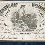 1861 Florida Confederate 5 Dollar Bill from Oct 1861