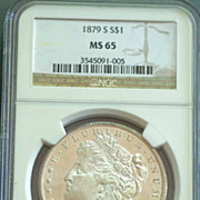 1879 S Morgan Silver Dollar Graded MS65 by NGC