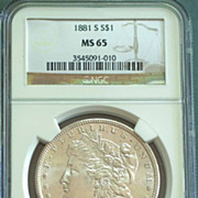 1881 S Morgan Silver Dollar Graded MS65 by NGC