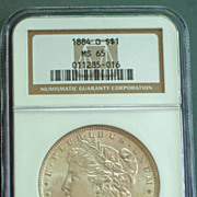1884 O Morgan Silver Dollar Graded MS65 by NGC